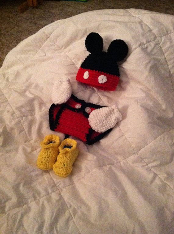 Baby Crochet Mickey Mouse Photo Prop / baby hat diaper cover shoes ...