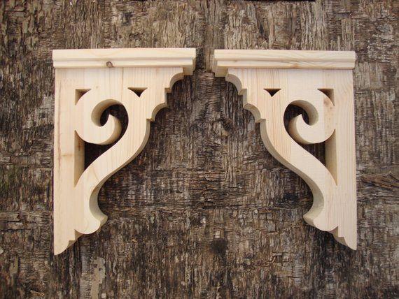 Rustic Shelf Brackets Wooden Farmhouse Decor Victorian Brackets Handmade Set of 2