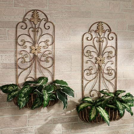 The Metal Carrolton Indoor Outdoor Wall Planter Set Features Decorative Pieces That Can Hold Your Faux Greenery In Style Planters Have A Tuscan Brick