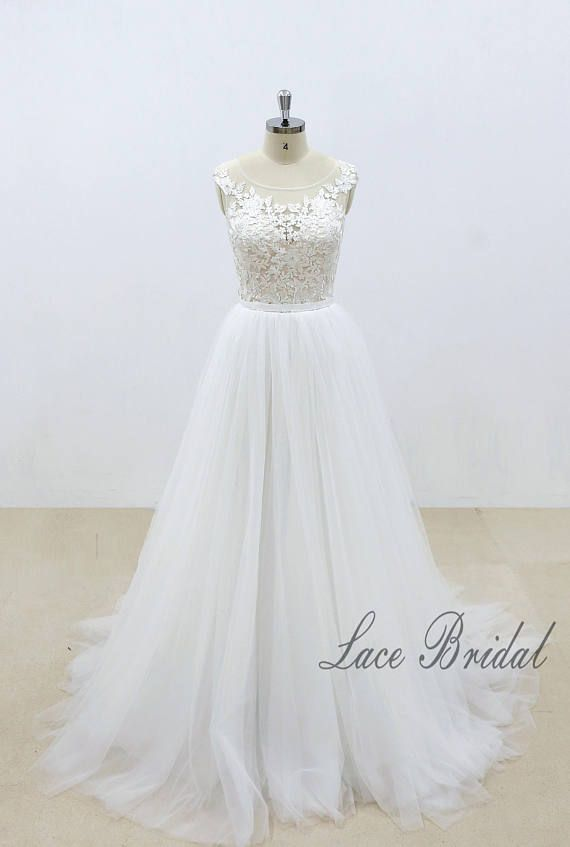 Elegant Lace Wedding Dress with Blush Lining Bodice A Line Tulle ...