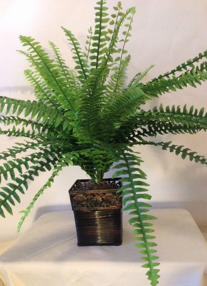 Boston fern with square copper vase silk plant w43 leaves green boston fern with square copper vase silk plant w43 leaves greenplanttree mightylinksfo