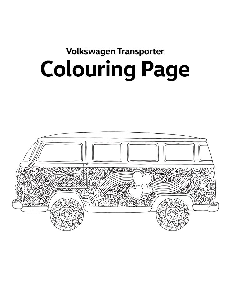 Download The Printable Volkswagen Transporter Colouring Page For Free To Colour Your Stress Away Theres