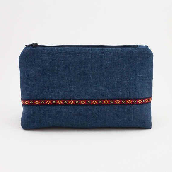 Blue Linen Travel Organiser   Colorful Zipper Bag  Bohemian