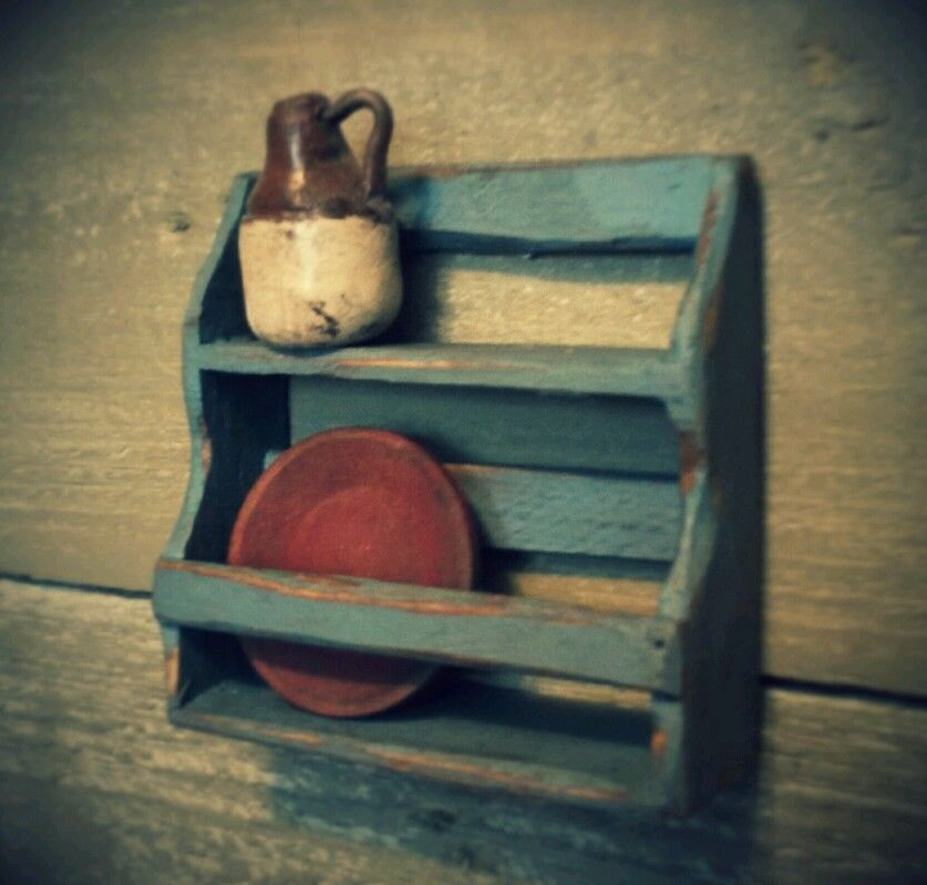 Colonial Plate Rack Shelf 112 Dollhouse Artist Made Primitive Folk Art OOAK & Colonial Plate Rack Shelf 1:12 Dollhouse Artist Made Primitive Folk ...