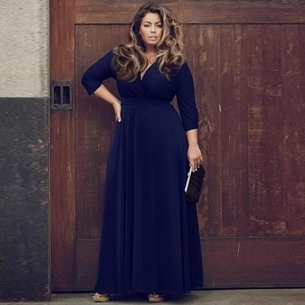 Plus Size Womens Long V Neck Maxi Dress black navy blue red