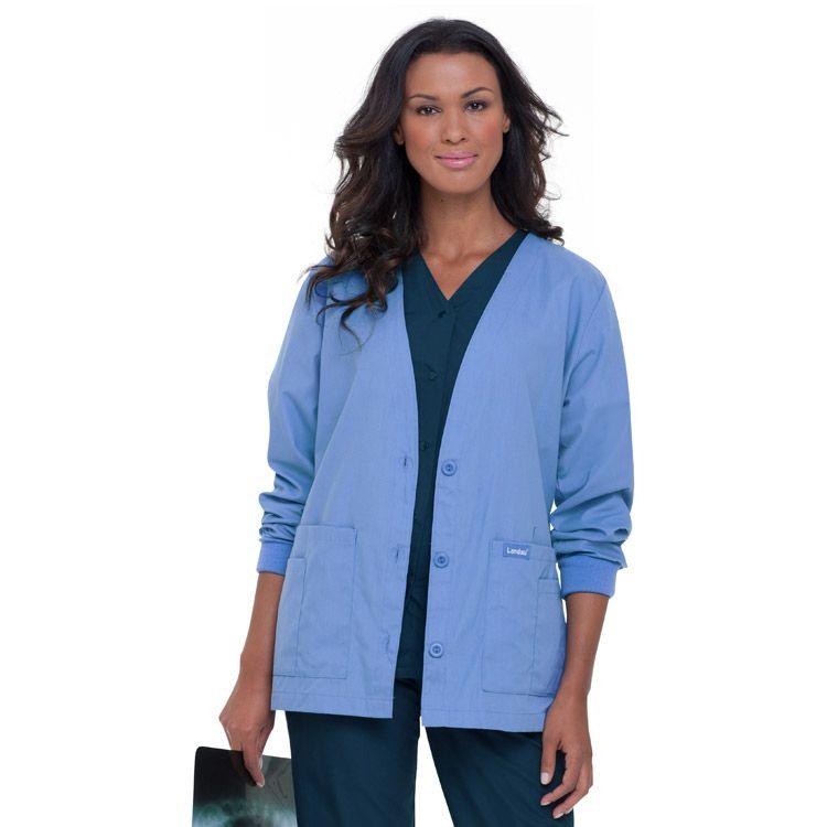 Marvelous Landau Womenu0027s V Neck Cardigan Style Warmup Solid Scrub Jacket