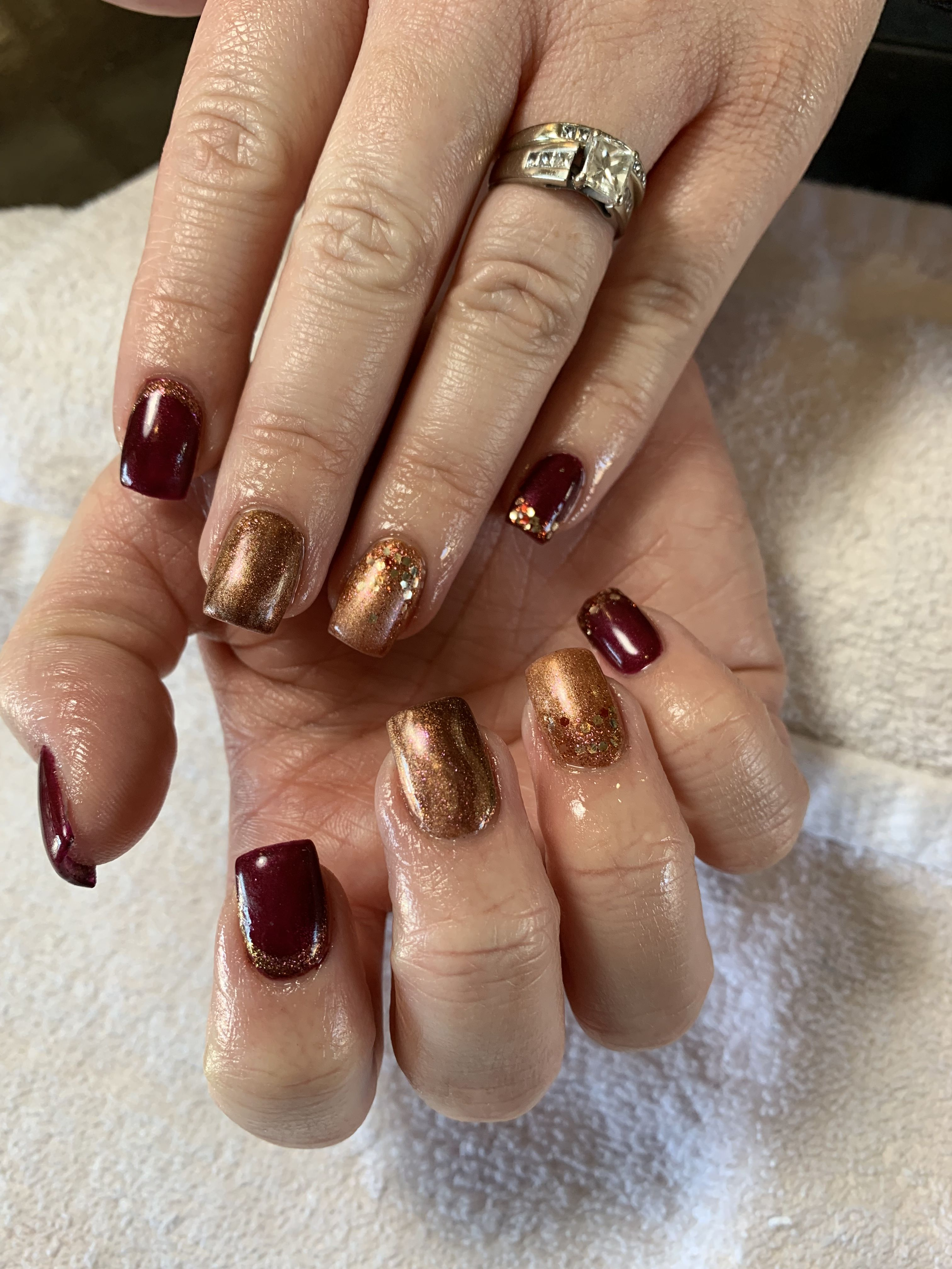 Fall Burgundy And Copper Nails Nails Copper Nails Hair Creations