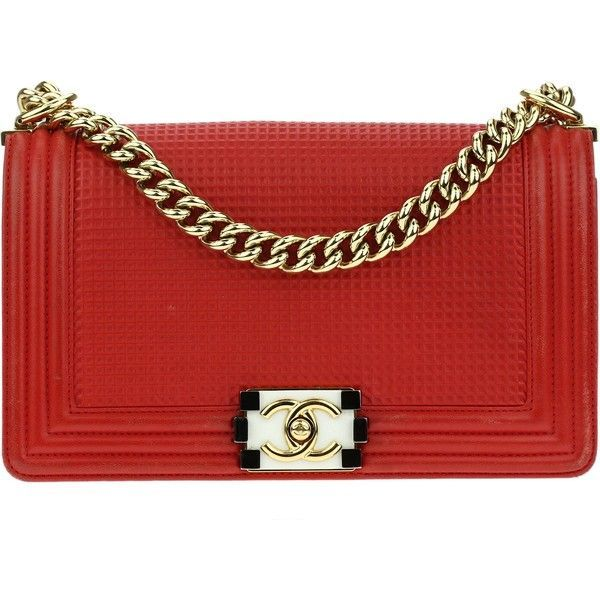 Pre Owned Chanel Red Medium Boy Cube Flap Bag 3 450 Liked On