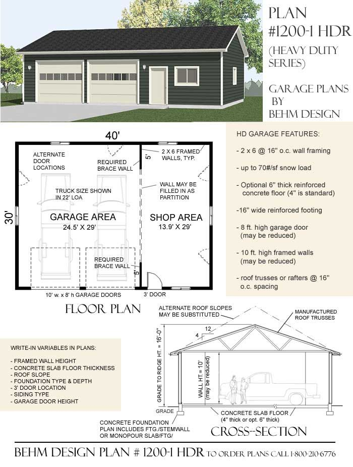 1200 1hr 40 X 30 Heavy Duty Garage Plan Garage Shop Plans Garage Plans Garage Design