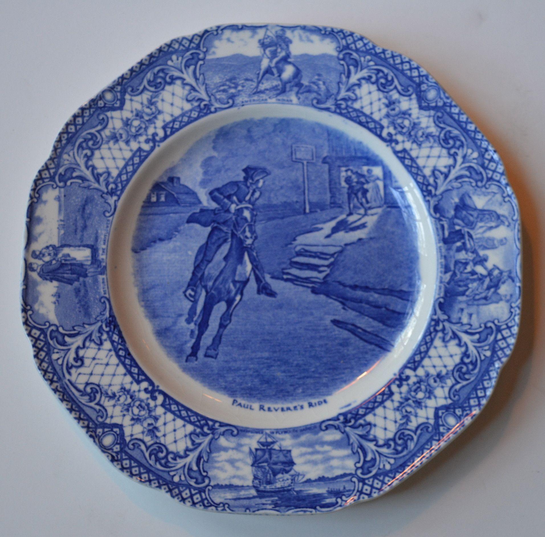 Blue Colonial Times Transferware Plate Paul Revere S Ride