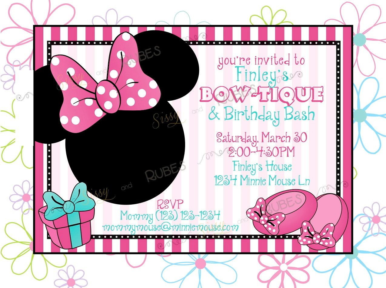 Minnie Mouse Inspired Birthday Invitation And Thank You Note - Minnie mouse 1st birthday invitations templates