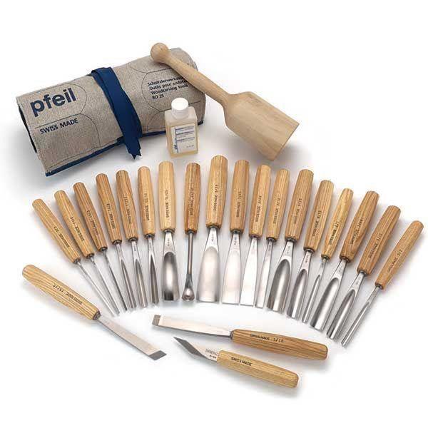 Pfeil Swiss Made Brienz Collection Full Size Carving Tool Set 25 Piece Ciseaux A Bois Rangement Outils Et Sculpture Bois