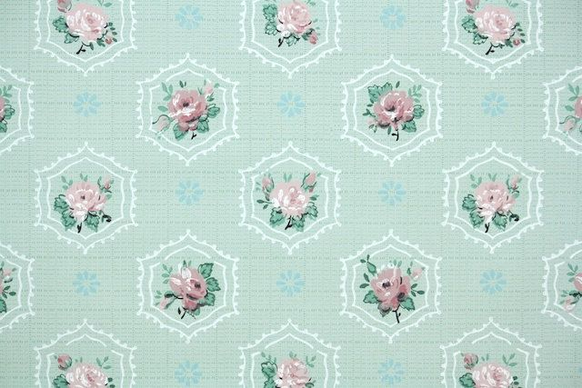 1930's Vintage Wallpaper - Floral Wallpaper with Pink Roses in Little Geometric Design on Pale Green by HannahsTreasures on Etsy