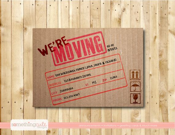 We Re Moving Cardboard Box Moving Announcement Postcard Moving Cards Moving Announcement Postcard Moving Announcements