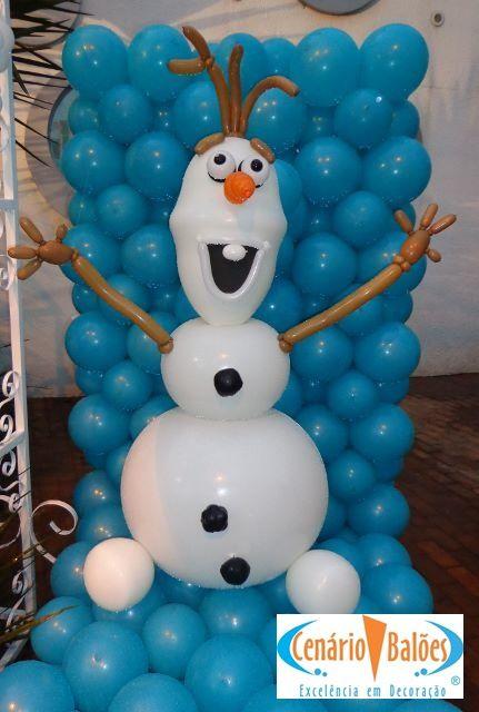 Olaf de la película frozen hecho con globos