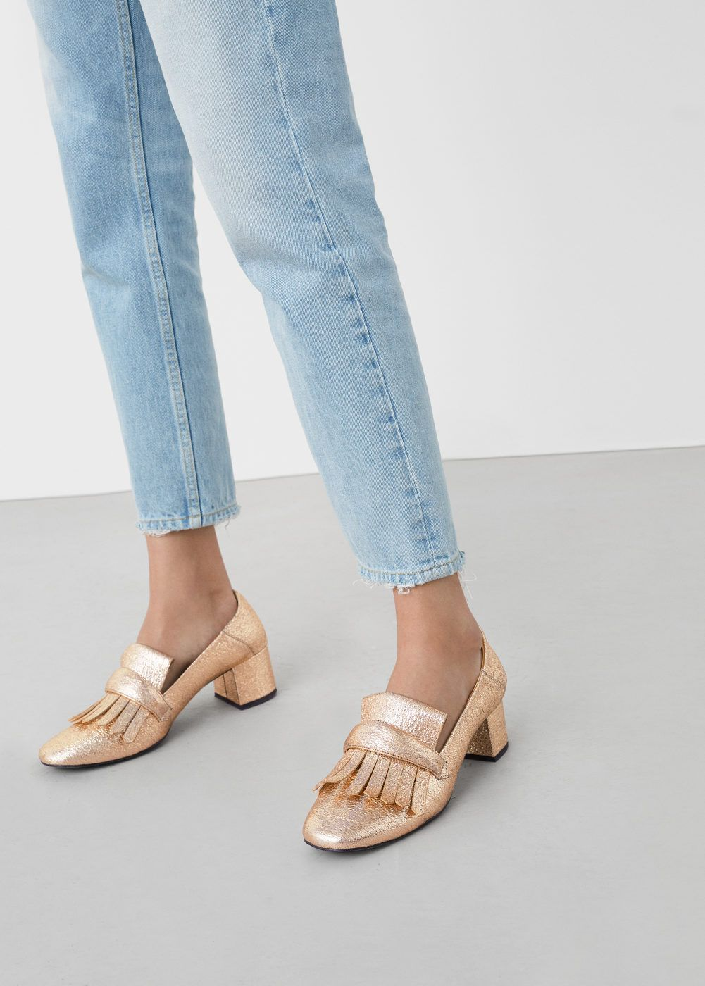 Metallic heel loafer