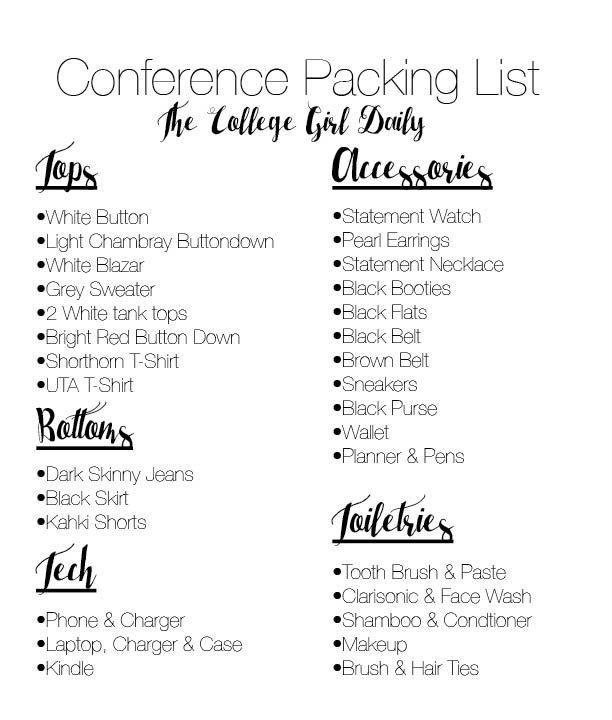 Conference Packing List  The Influenceher Collective