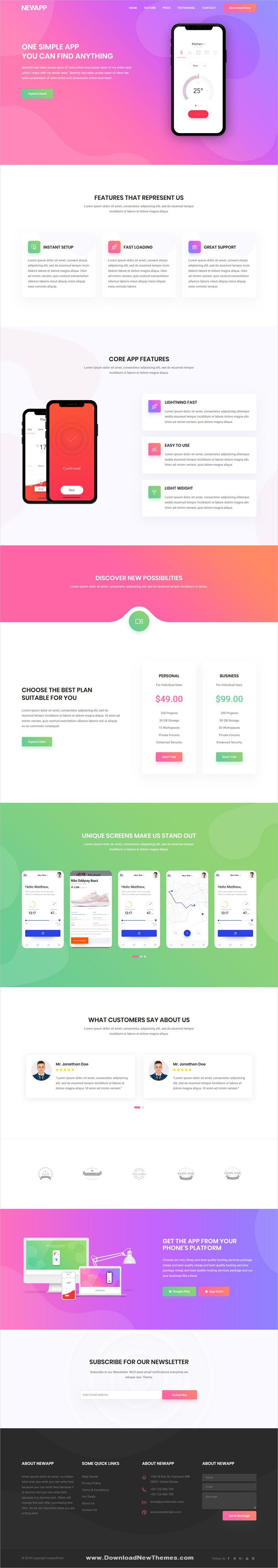 NewApp is a clean and modern design responsive bootstrap