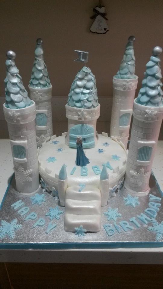 Blue frozen castle cake