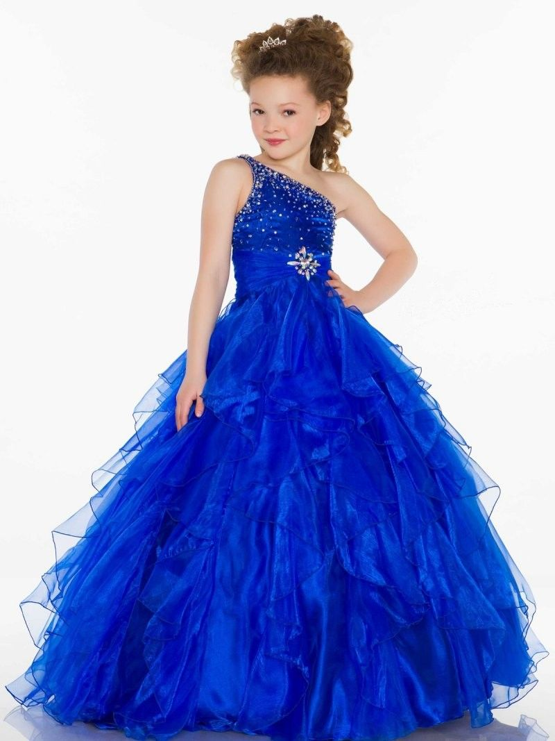 Blue Ball Gown One Shoulder Girls Pageant Dress | Keira ...