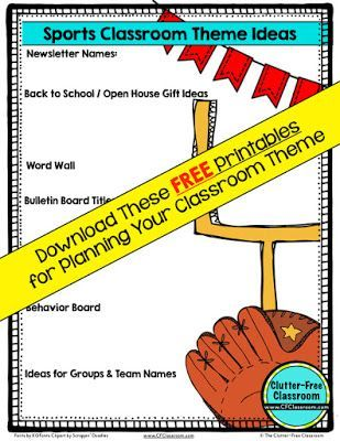 Sports Themed Classroom - Ideas u0026 Printable Classroom Decorations | Clutter-Free Classroom | Bloglovinu0027  sc 1 st  Pinterest & Sports Themed Classroom - Ideas u0026 Printable Classroom Decorations ...