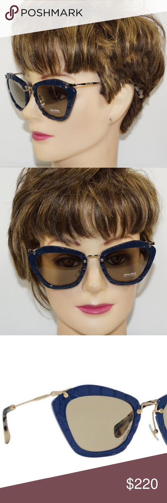 3b8a89224274 Miu Miu Cat Eye Blue Gold Sunglasses SMU 10N Brand New 100% Authentic MIU  MIU SUNGLASSES - BEAUTIFUL! Model  Cat Eye SMU 10N Color  Blue USZ-5J2  Lenses  ...