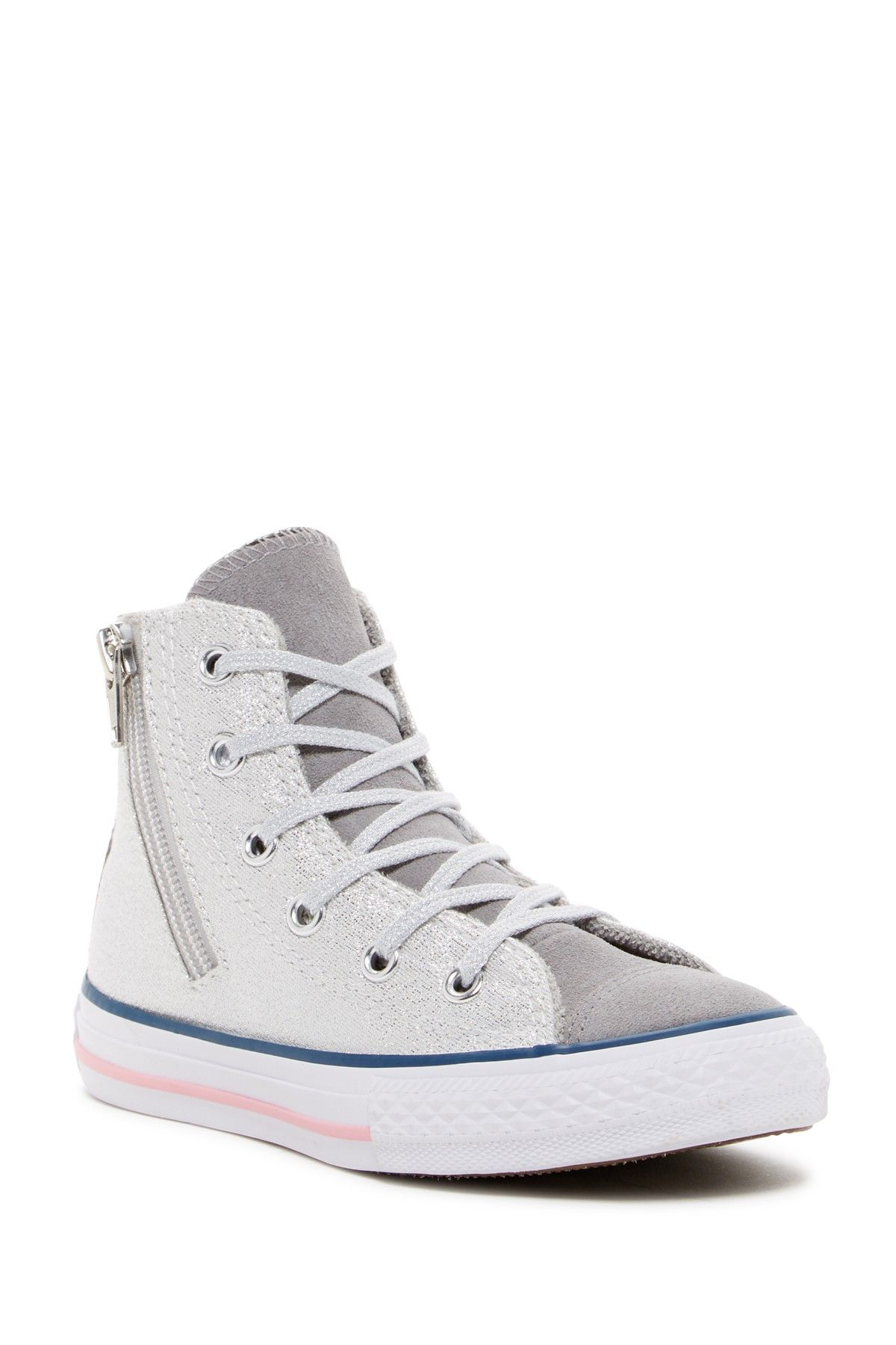 7adfc2e704aa Chuck Taylor® All Star® High Top Side Zip Metallic Sneaker (Little Kid    Big Kid)