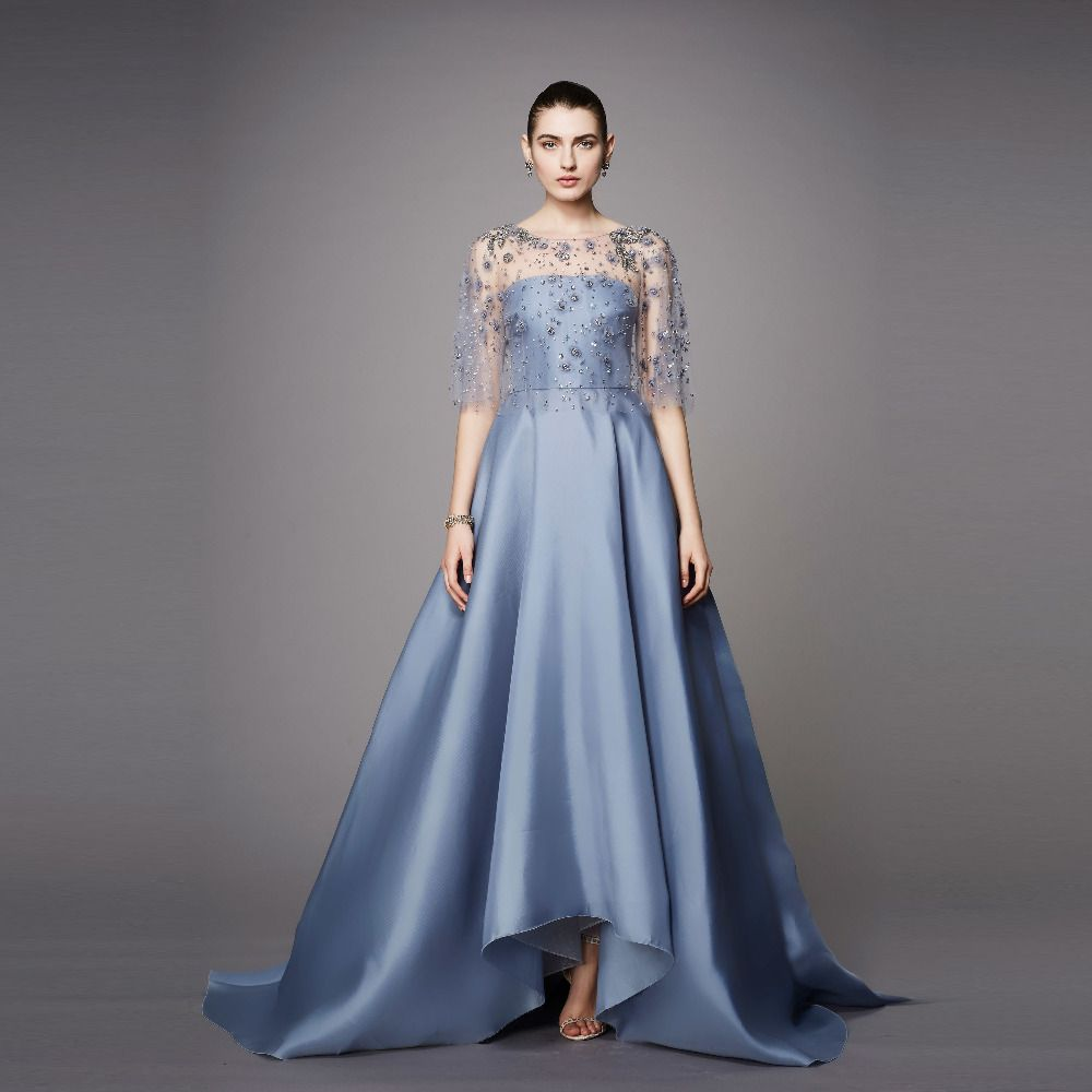 Blue Prom Dresses With Beading Cape Luxury Evening Gowns 2017 New ...
