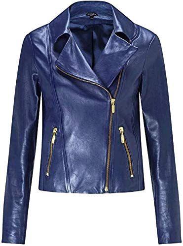 Handcrafted Exports Menss Biker Leather Jacket Short Lambskin Zipper Closure Winter Cover Ups