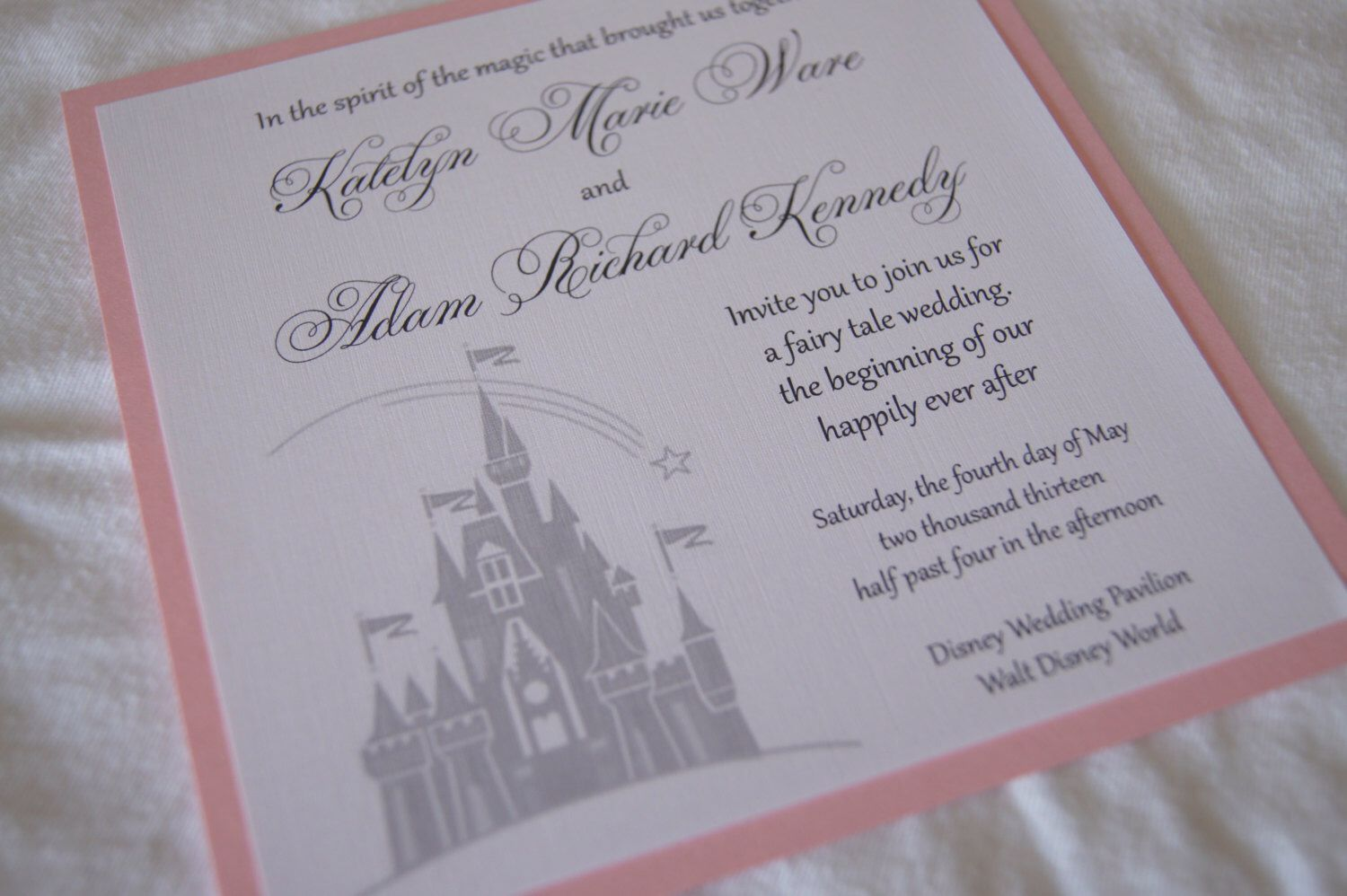 Custom Fairytale Castle Wedding Invitation Sample By Somerstudios