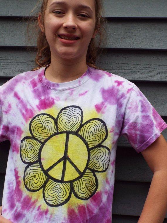 7ce86c9c5e3f Hippie Girls Shirt, Girls Peace Sign Shirt, Kids M Flower Shirt, Girls Tie  Dye Peace Sign T-shirt, F