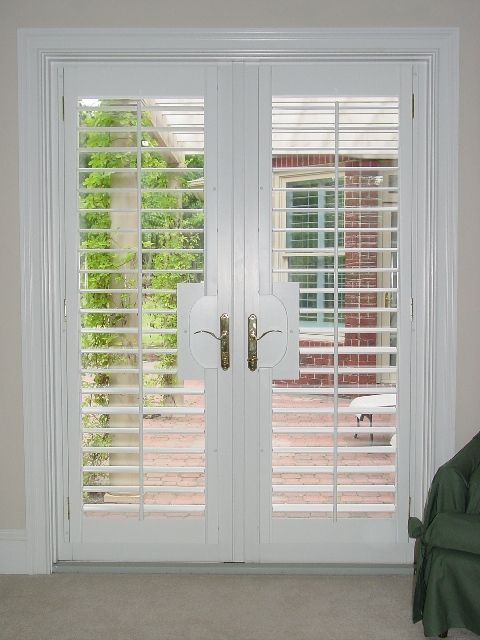 Beau Plantation Shutters 3.5 In Louver With Lever Door Cutouts