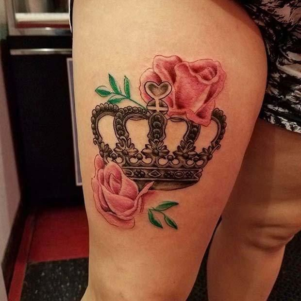 12 creative crown tattoo ideas for women. Black Bedroom Furniture Sets. Home Design Ideas