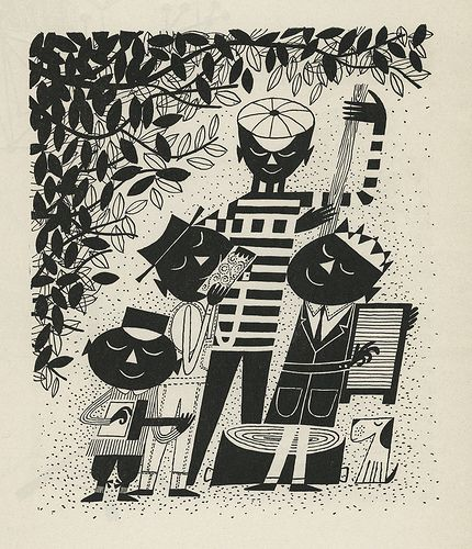 """Illustrations by Cliff Roberts from """"The First Book of Jazz"""" by Langston Hughes – 1955"""