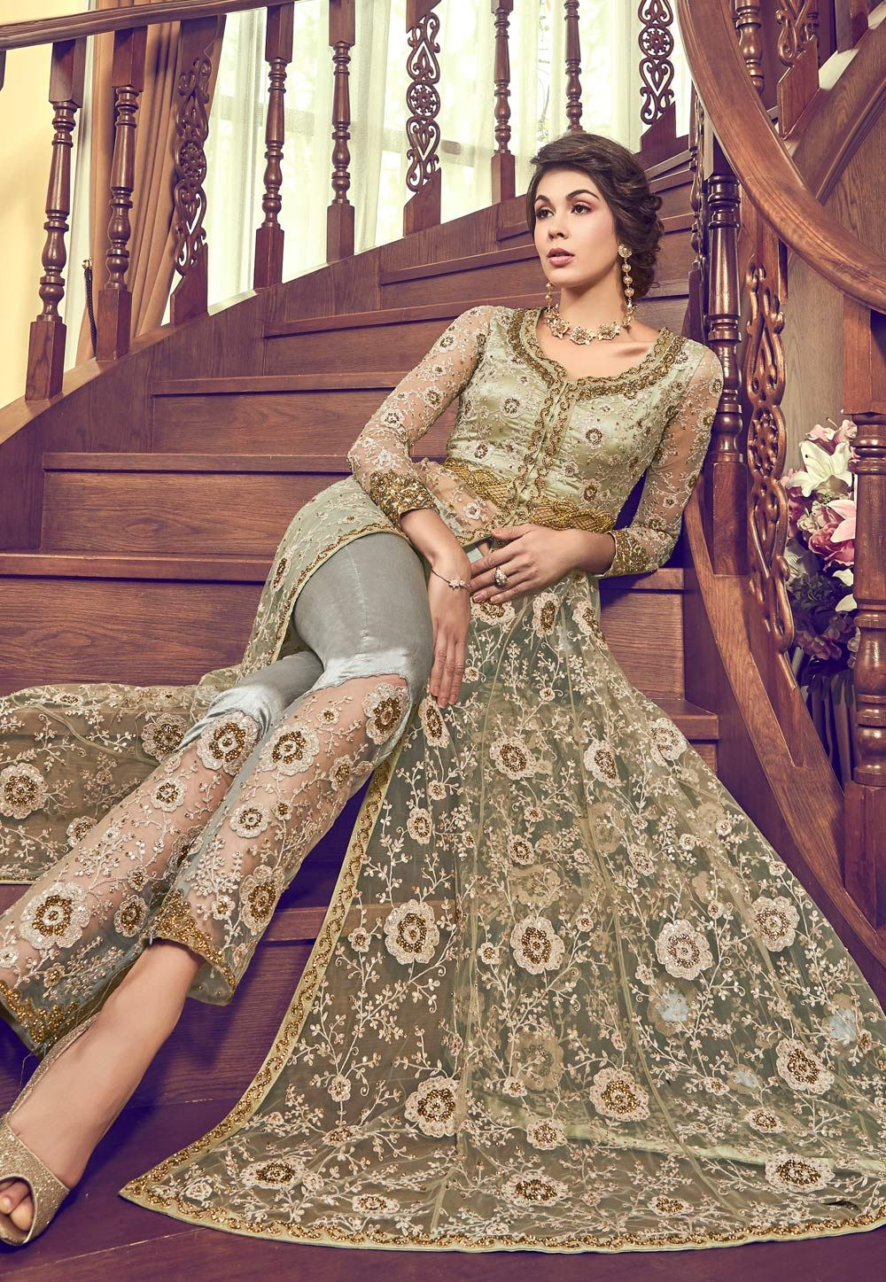 caf2ecbc7c Buy Pista Green Net Embroidered Pant Style Suit 165801 online at lowest  price from huge collection