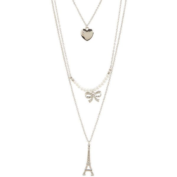 Aeropostale Eiffel Tower Long-Strand Necklace ($7) ❤ liked on Polyvore featuring jewelry, necklaces, silver, long strand necklace, heart shaped necklace, long silver necklace, heart necklace and silver heart charm