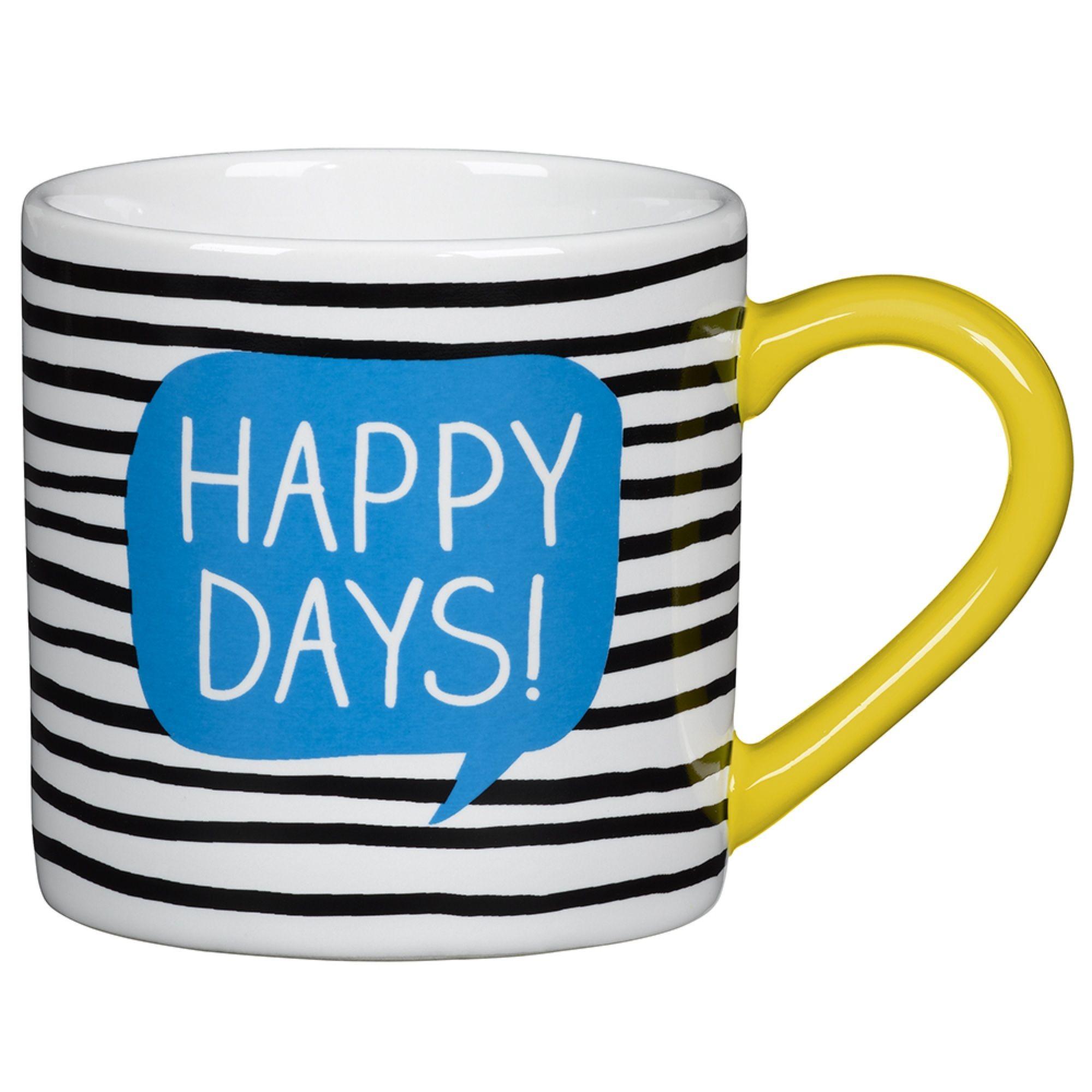 """Verschönere Deinen Alltag mit der tollen Henkeltasse """"Happy Days"""" von Wild & Wolf. Die hübsche Tasse sorgt immer für einen schön gedeckten Tisch und begeistert durch ihre schlichte Eleganz. Weiteres tolles Geschirr von Wild & Wolf findest Du bei uns im Shop."""