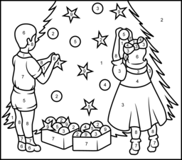 Christmas Tree - Printable Color by Number Page | For the ...