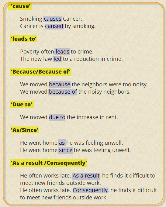 Answers: 1b 2c 3a 4c 5d 6d 7b 8a  (cause and effect) linking_words_phrases (linking words) (linking words)