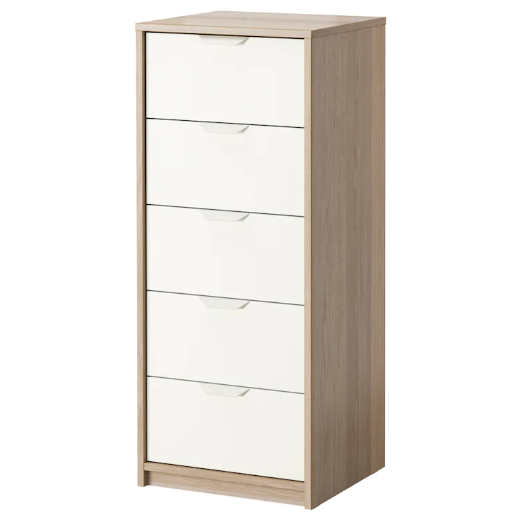 ASKVOLL 5drawer chest white stained oak effect, white