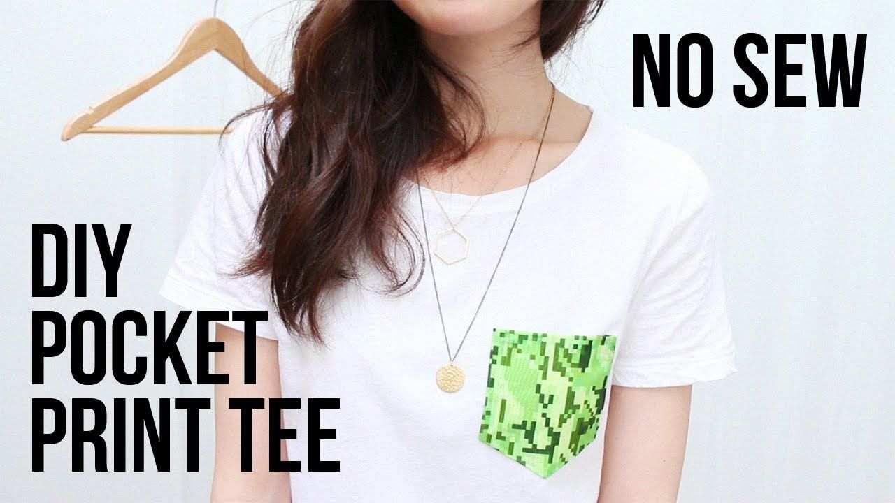 Diy Pocket Print Tee No Sewing Required Using Leftover Fabric Http Youtu Be 90h Sko3owo Diy Fashion Diy Fashion Diy Fashion Trends Diy Fashion Clothing