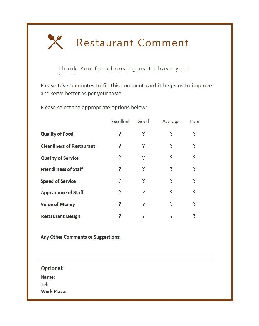 50 Printable Comment Card Feedback Form Templates ᐅ Throughout