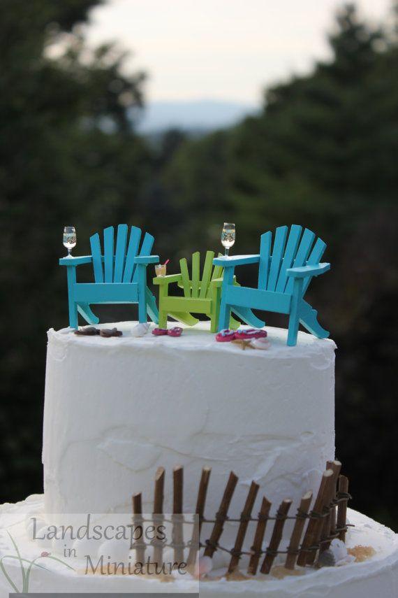 Beach Theme Wedding Cake Topper BLENDED By LandscapesNMiniature