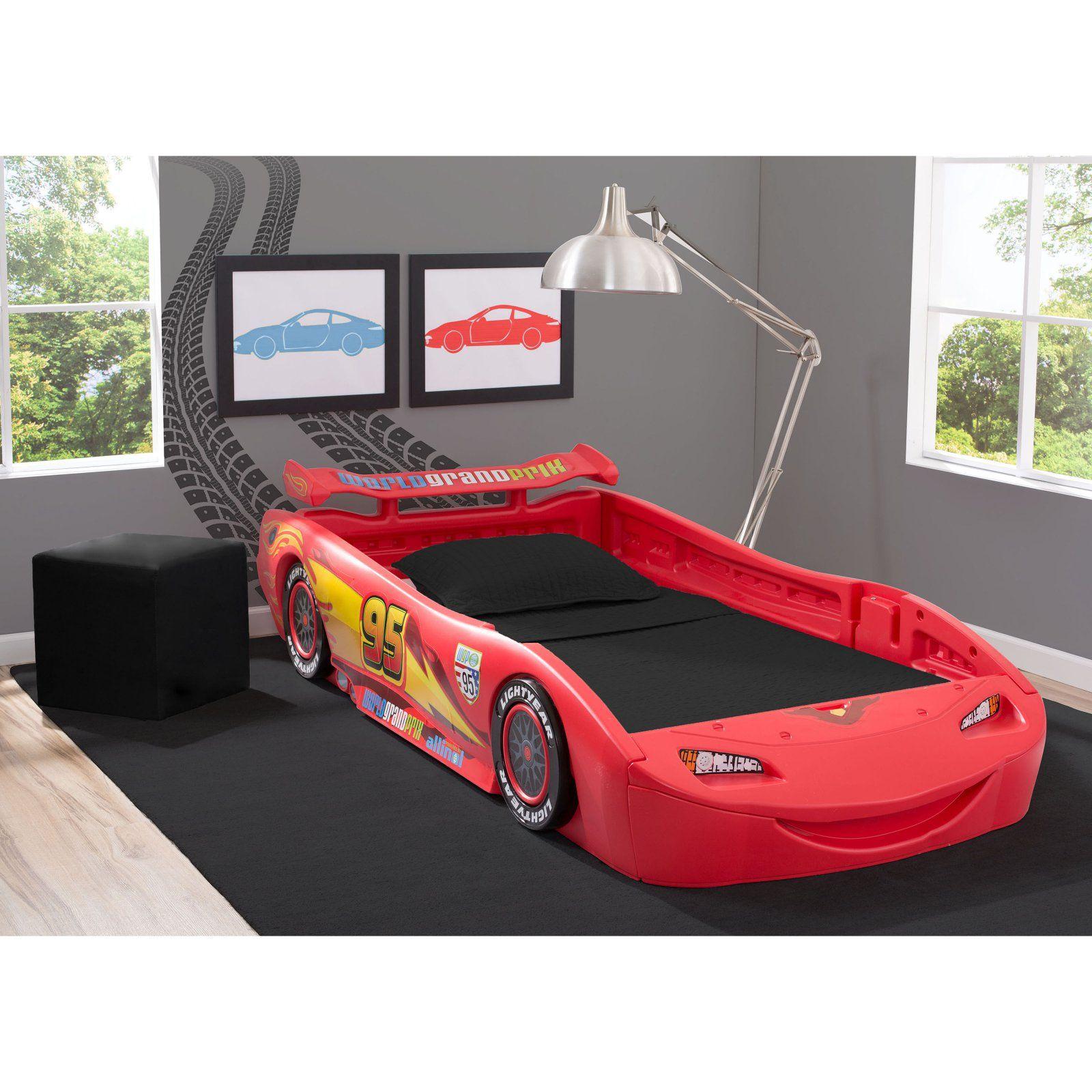 Disney Pixar Cars Lightning Mcqueen Bed With Lights Twin Car Bed Bed Lights Lightning Mcqueen Bed