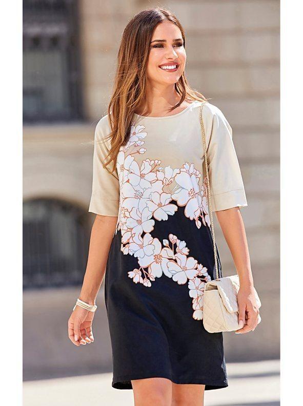 Vestido de mujer con estampado floral posicional manga al codo ... da903735f811
