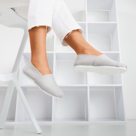 Szare Damskie Tenisowki Slip On Slavarina Obuwie Shoes Slip On Sneaker Flat Espadrille