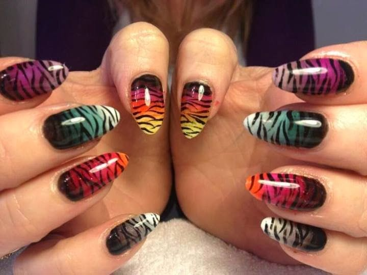 Long almond acrylics with led polish ombre design with tiger long almond acrylics with led polish ombre design with tiger tiger stripe nailstiger prinsesfo Choice Image