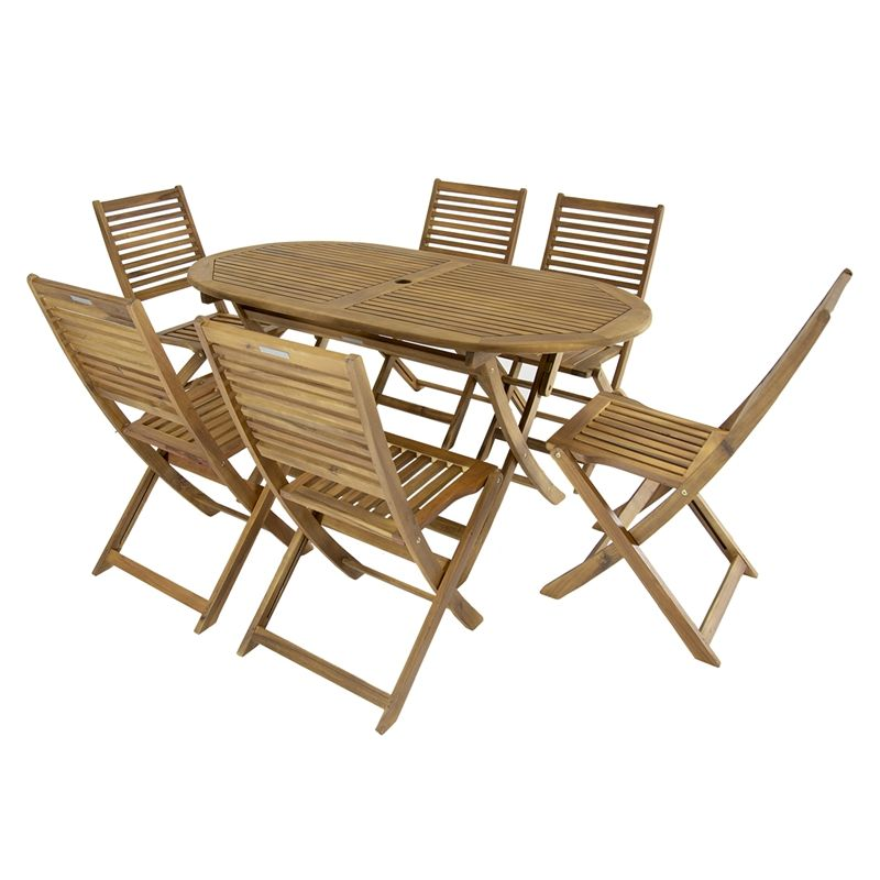 Charles Bentley Wooden Fsc Acacia 6 Seater Oval Table Dining Set With Images Oval Table Dining Oval Table Dining Table Setting