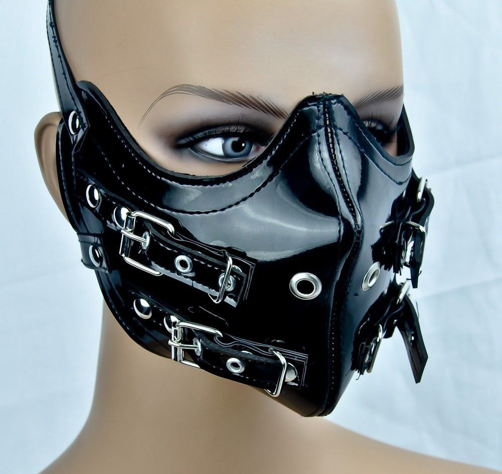 PVC STRAP BUCKLE MOTORCYCLE FACE MASK HORROR COSPLAY ANIME BIKER FETISH GOTHIC | eBay