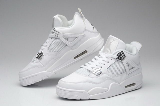 ffe53b6bf66 Nike Air Jordan 4 IV Retro Mens Shoes Anniversary White   Metallic Silver